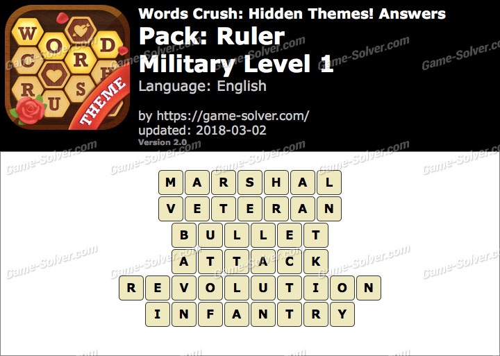 Words Crush Ruler-Military Level 1 Answers