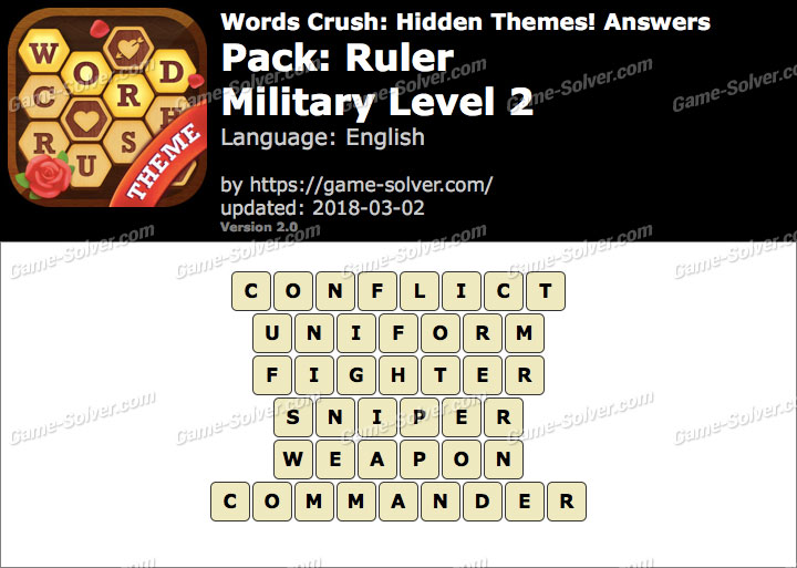 Words Crush Ruler-Military Level 2 Answers