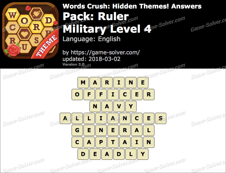 Words Crush Ruler-Military Level 4 Answers