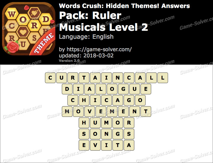Words Crush Ruler-Musicals Level 2 Answers