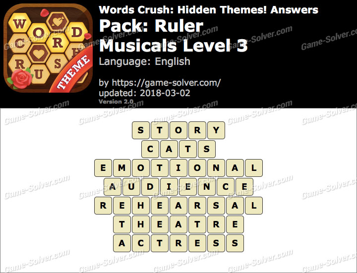 Words Crush Ruler-Musicals Level 3 Answers
