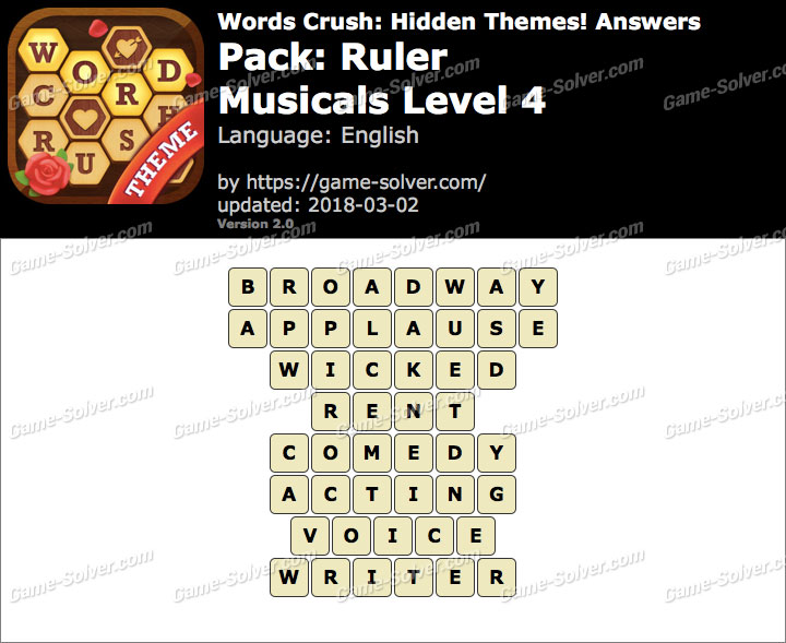 Words Crush Ruler-Musicals Level 4 Answers