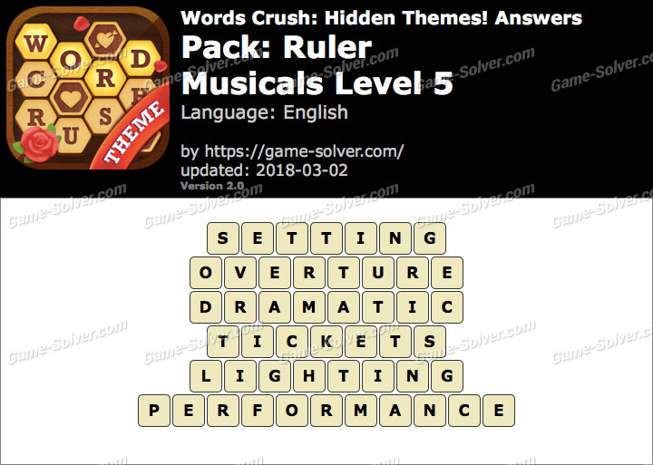 Words Crush Ruler-Musicals Level 5 Answers