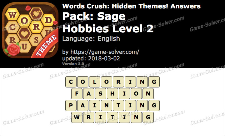 Words Crush Sage-Hobbies Level 2 Answers