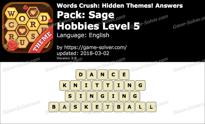 Words Crush Sage-Hobbies Level 5 Answers