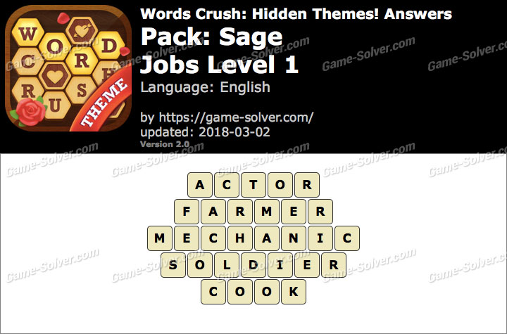 Words Crush Sage-Jobs Level 1 Answers