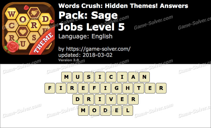Words Crush Sage-Jobs Level 5 Answers