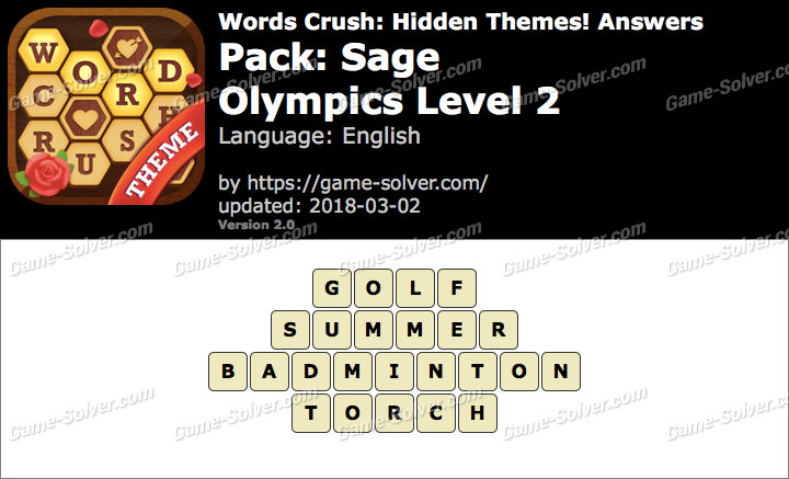 Words Crush Sage-Olympics Level 2 Answers