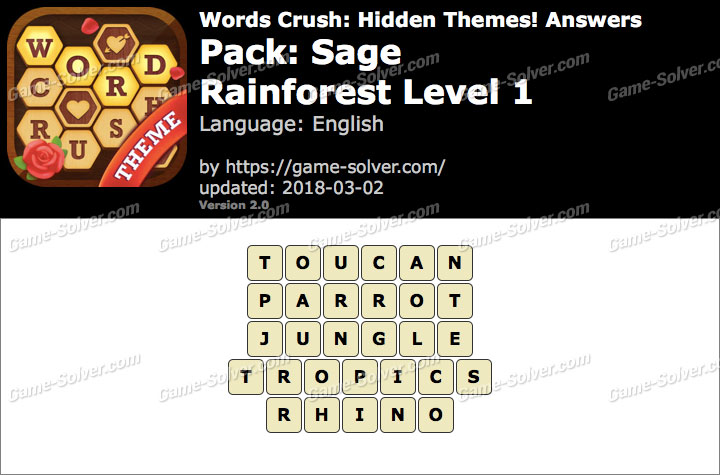 Words Crush Sage-Rainforest Level 1 Answers