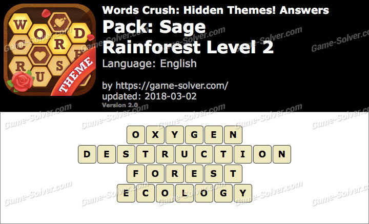 Words Crush Sage-Rainforest Level 2 Answers