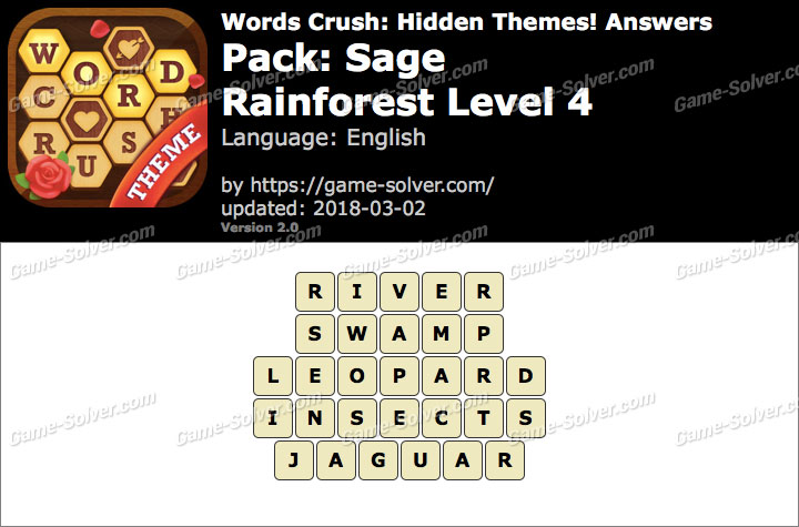 Words Crush Sage-Rainforest Level 4 Answers