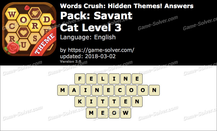 Words Crush Savant-Cat Level 3 Answers