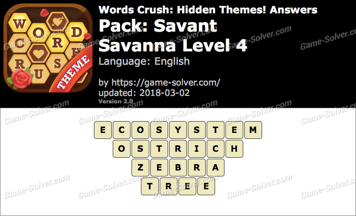 Words Crush Savant-Savanna Level 4 Answers