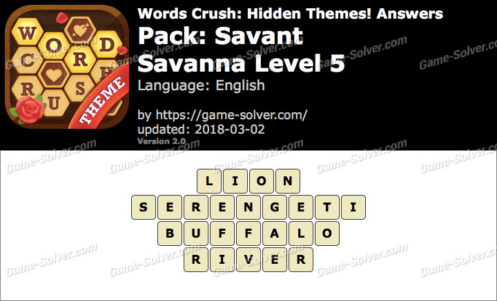 Words Crush Savant-Savanna Level 5 Answers