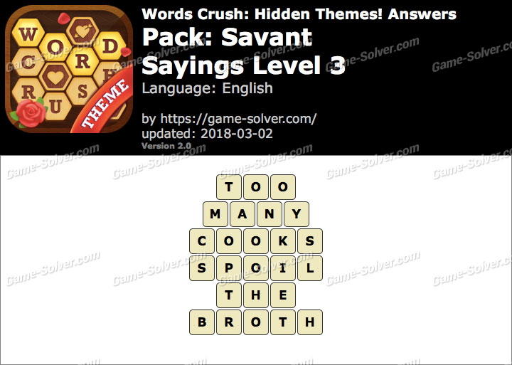 Words Crush Savant-Sayings Level 3 Answers