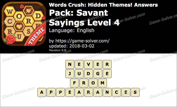Words Crush Savant-Sayings Level 4 Answers