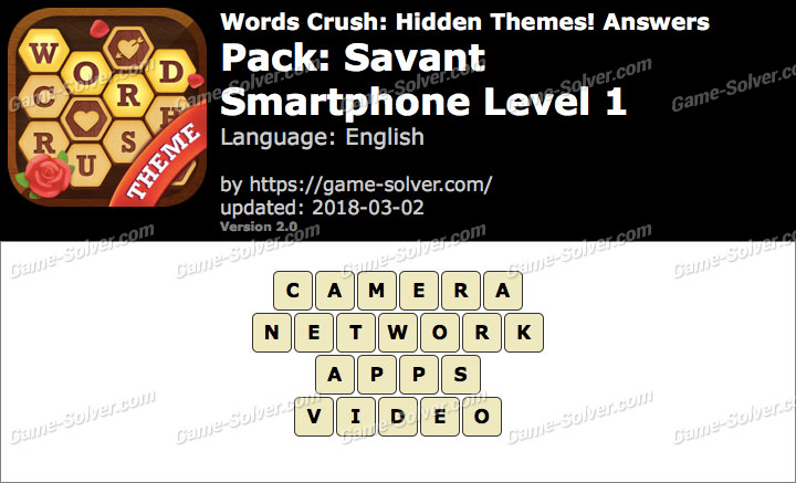 Words Crush Savant-Smartphone Level 1 Answers