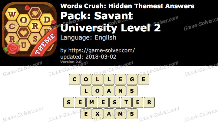 Words Crush Savant-University Level 2 Answers