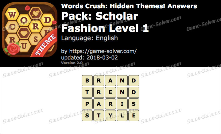 Words Crush Scholar-Fashion Level 1 Answers