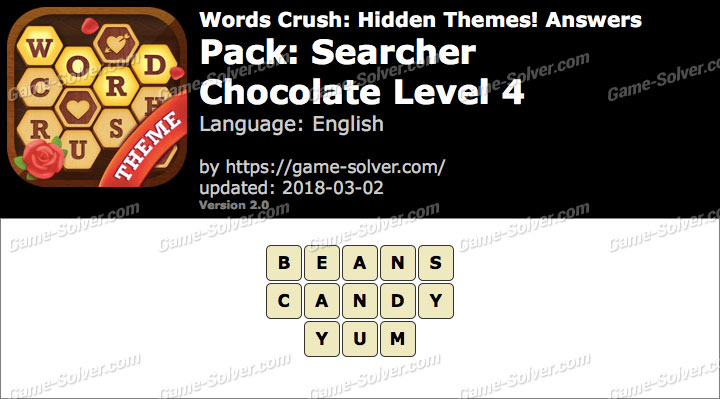 Words Crush Searcher-Chocolate Level 4 Answers