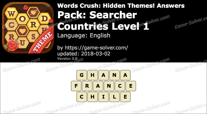 Words Crush Searcher-Countries Level 1 Answers