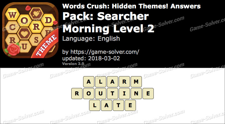 Words Crush Searcher-Morning Level 2 Answers