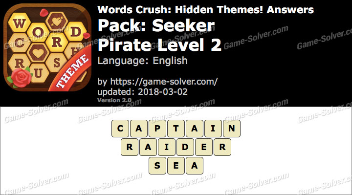 Words Crush Seeker-Pirate Level 2 Answers