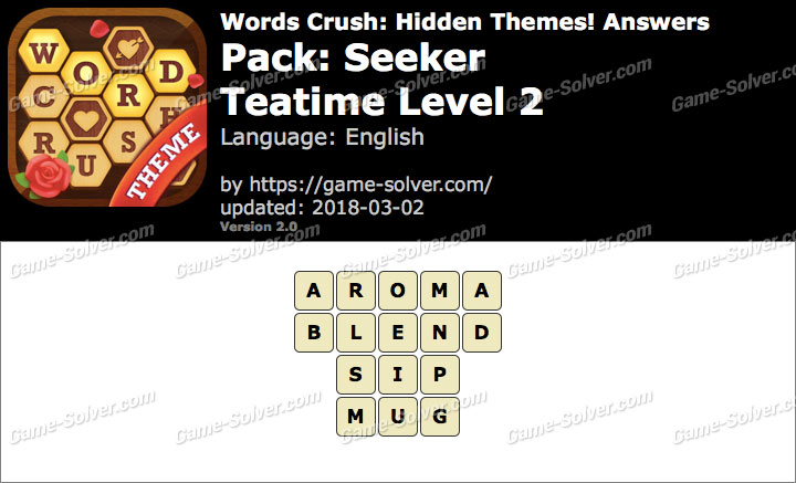 Words Crush Seeker-Teatime Level 2 Answers
