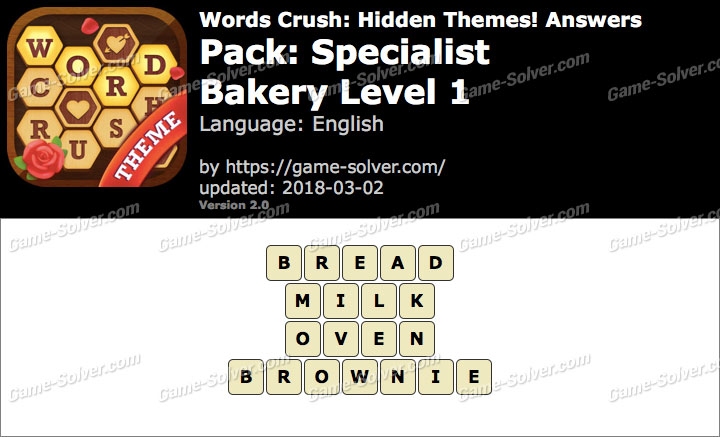 Words Crush Specialist-Bakery Level 1 Answers