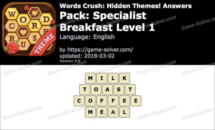 Words Crush Specialist-Breakfast Level 1 Answers