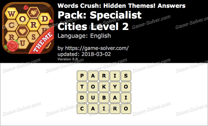 Words Crush Specialist-Cities Level 2 Answers