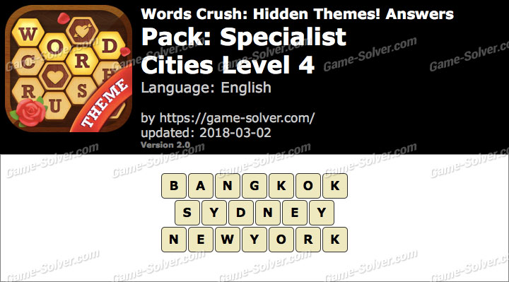 Words Crush Specialist-Cities Level 4 Answers