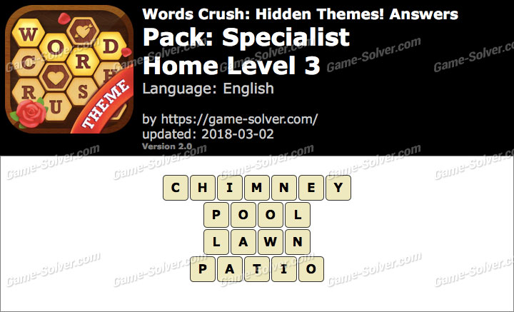 Words Crush Specialist-Home Level 3 Answers