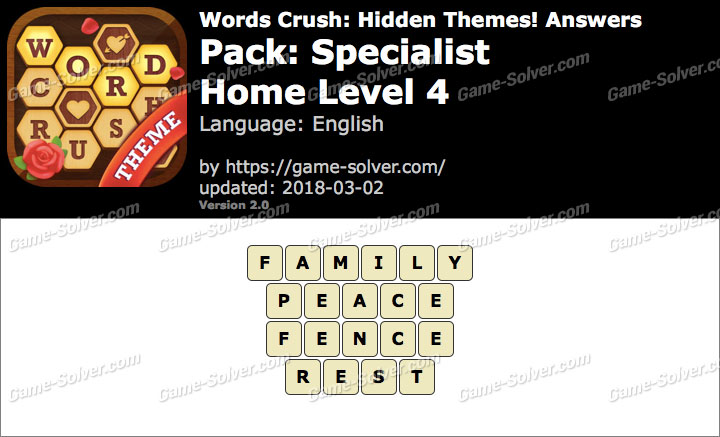 Words Crush Specialist-Home Level 4 Answers