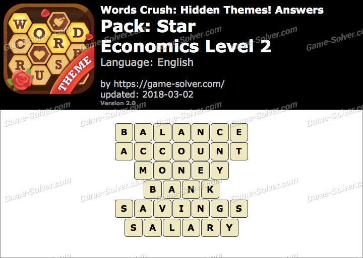 Words Crush Star-Economics Level 2 Answers