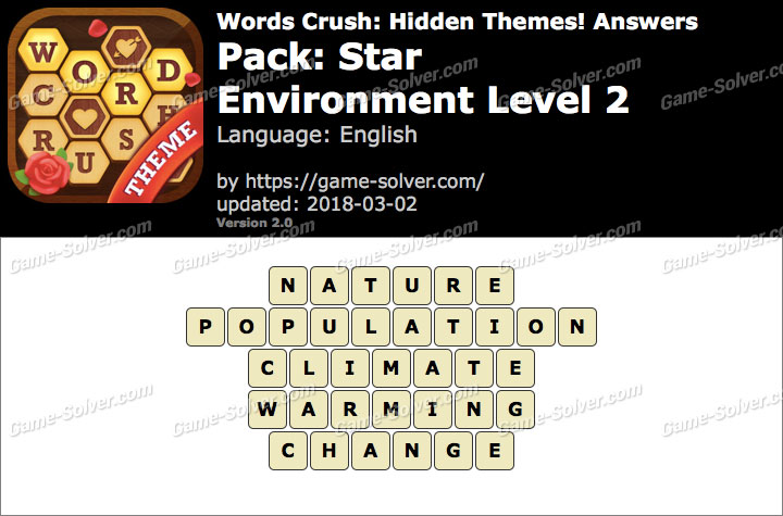 Words Crush Star-Environment Level 2 Answers