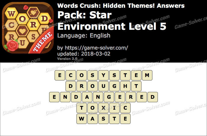 Words Crush Star-Environment Level 5 Answers