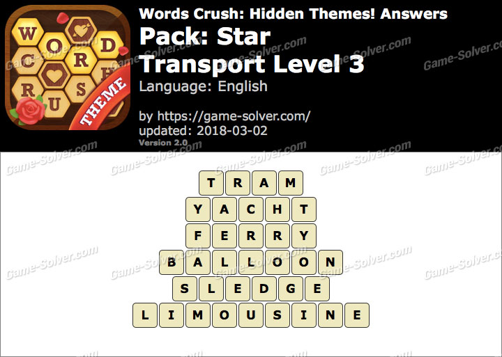 Words Crush Star-Transport Level 3 Answers