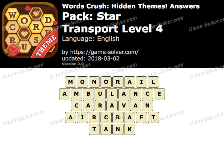 Words Crush Star-Transport Level 4 Answers