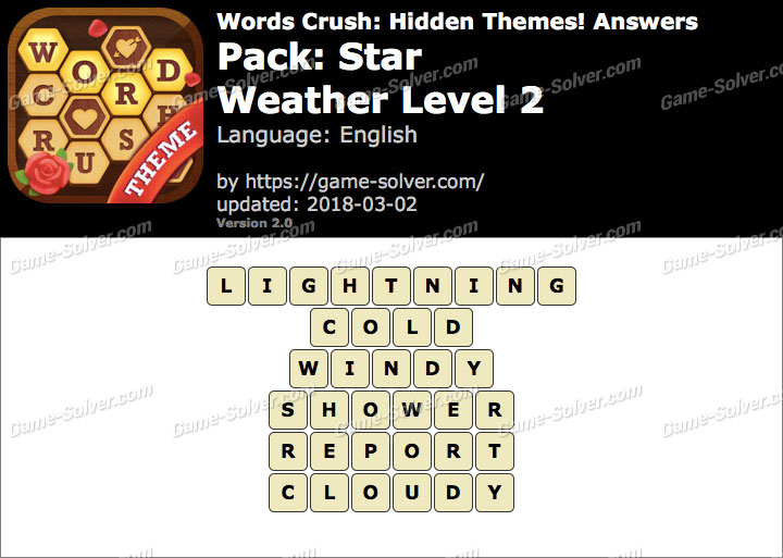 Words Crush Star-Weather Level 2 Answers