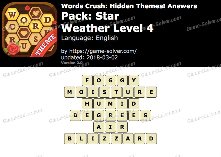 Words Crush Star-Weather Level 4 Answers
