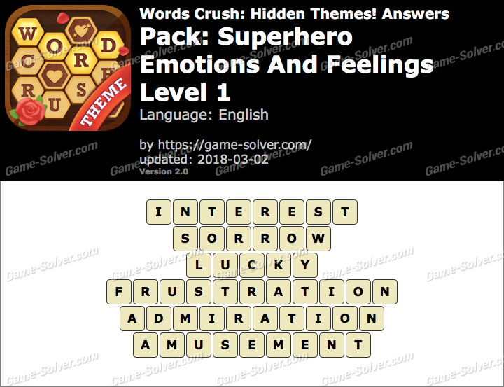 Words Crush Superhero-Emotions And Feelings Level 1 Answers