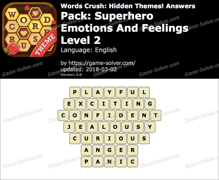 Words Crush Superhero-Emotions And Feelings Level 2 Answers