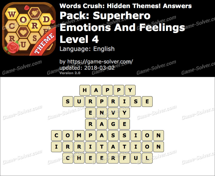 Words Crush Superhero-Emotions And Feelings Level 4 Answers
