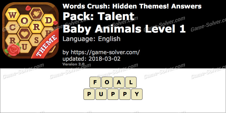 Words Crush Talent-Baby Animals Level 1 Answers