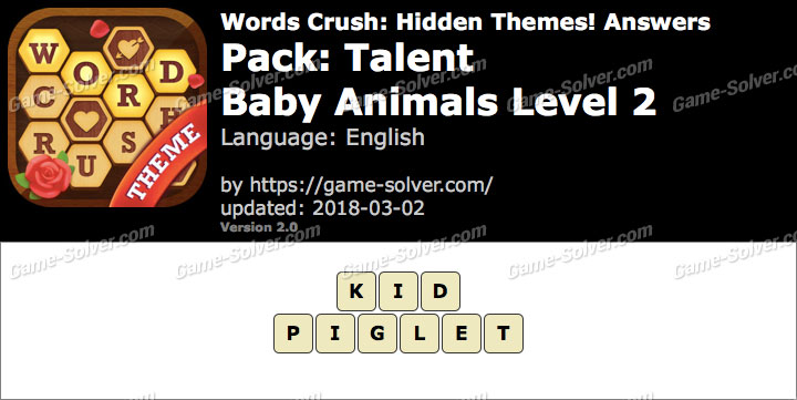 Words Crush Talent-Baby Animals Level 2 Answers