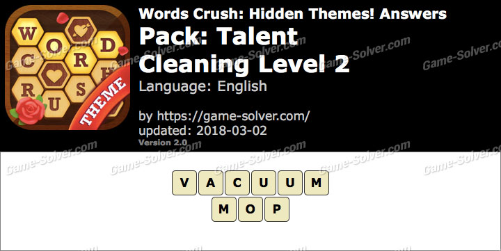 Words Crush Talent-Cleaning Level 2 Answers