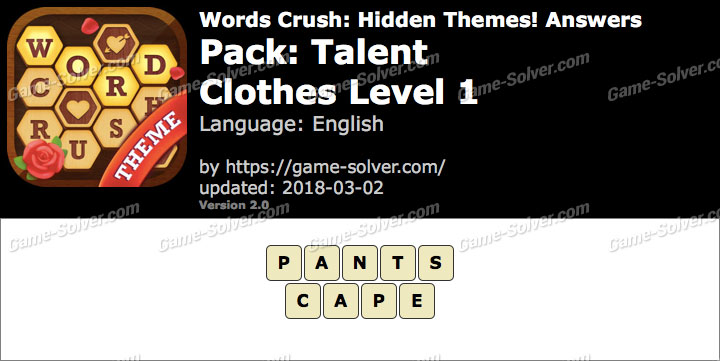 Words Crush Talent-Clothes Level 1 Answers