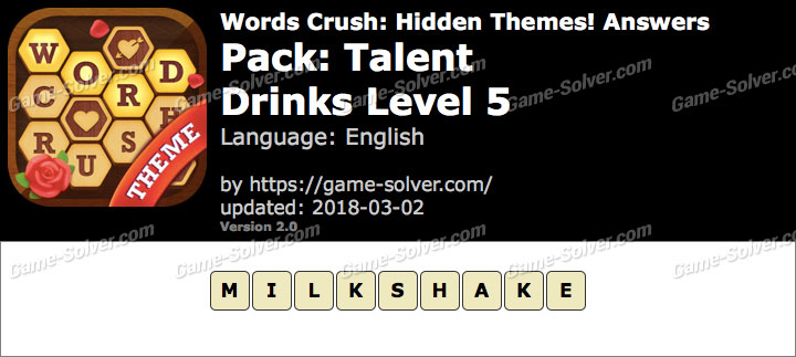 Words Crush Talent-Drinks Level 5 Answers