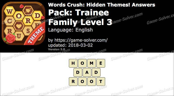 Words Crush Trainee-Family Level 3 Answers